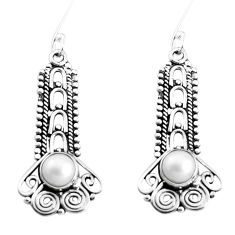 2.89cts natural white pearl 925 sterling silver dangle earrings jewelry p39328