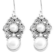 8.53cts natural white pearl 925 sterling silver dangle earrings jewelry p41281