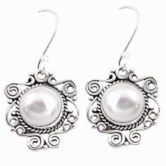 10.30cts natural white pearl 925 sterling silver dangle earrings jewelry p41382