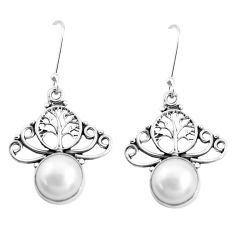 9.61cts natural white pearl 925 sterling silver dangle earrings jewelry p42983