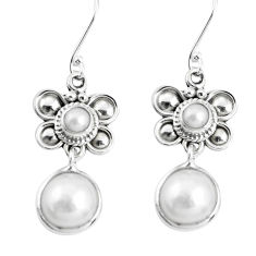 12.40cts natural white pearl 925 sterling silver dangle earrings jewelry p51542