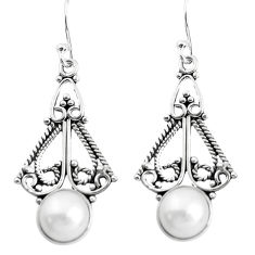 5.38cts natural white pearl 925 sterling silver dangle earrings jewelry p51969