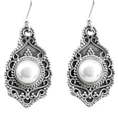 7.22cts natural white pearl 925 sterling silver dangle earrings jewelry p52756