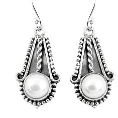 6.36cts natural white pearl 925 sterling silver dangle earrings jewelry p52802