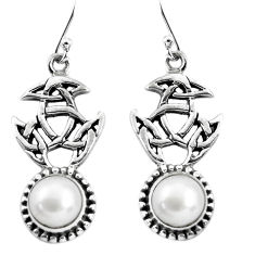 7.02cts natural white pearl 925 sterling silver dangle earrings jewelry p54861