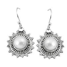 6.31cts natural white pearl 925 sterling silver dangle earrings jewelry p58263