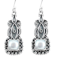4.67cts natural white pearl 925 sterling silver dangle earrings jewelry p59981
