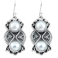 6.27cts natural white pearl 925 sterling silver dangle earrings jewelry p60033