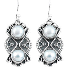 6.80cts natural white pearl 925 sterling silver dangle earrings jewelry p60034