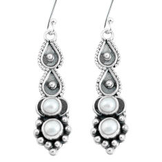 2.71cts natural white pearl 925 sterling silver dangle earrings jewelry p60129