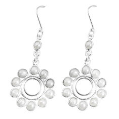 15.34cts natural white pearl 925 sterling silver dangle earrings jewelry p60508