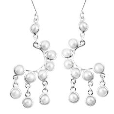 15.93cts natural white pearl 925 sterling silver dangle earrings jewelry p60514