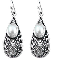 4.22cts natural white pearl 925 sterling silver dangle earrings jewelry p63918