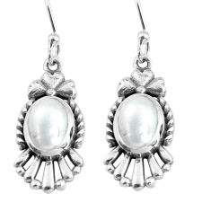 4.02cts natural white pearl 925 sterling silver dangle earrings jewelry p63947