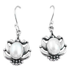 4.21cts natural white pearl 925 sterling silver dangle earrings jewelry p64005