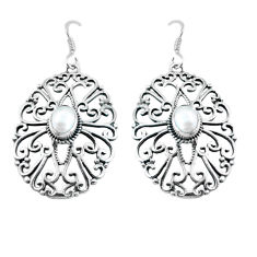 2.99cts natural white pearl 925 sterling silver dangle earrings jewelry p64885