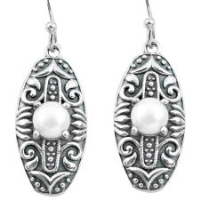 2.59cts natural white pearl 925 sterling silver dangle earrings jewelry p64958