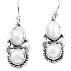 6.54cts natural white pearl 925 sterling silver dangle earrings jewelry p64996
