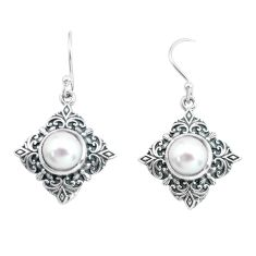 7.12cts natural white pearl 925 sterling silver dangle earrings jewelry p65008