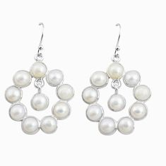 15.34cts natural white pearl 925 sterling silver dangle earrings jewelry p78381