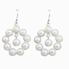14.91cts natural white pearl 925 sterling silver dangle earrings jewelry p78382