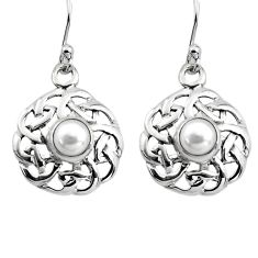 1.94cts natural white pearl 925 sterling silver dangle earrings jewelry p84989