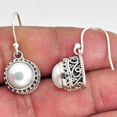 8.76cts natural white pearl 925 sterling silver dangle earrings jewelry p89821