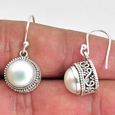 8.43cts natural white pearl 925 sterling silver dangle earrings jewelry p89826