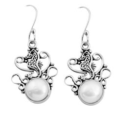 6.29cts natural white pearl 925 sterling silver dangle seahorse earrings p41482