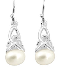 5.76cts natural white pearl 925 sterling silver earrings jewelry c5522