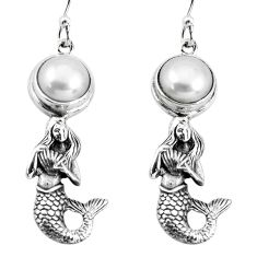 6.20cts natural white pearl 925 sterling silver fairy mermaid earrings p55462