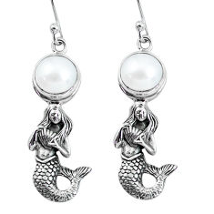 6.20cts natural white pearl 925 sterling silver fairy mermaid earrings p60761