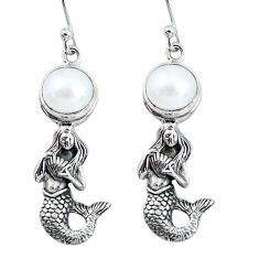 6.76cts natural white pearl 925 sterling silver fairy mermaid earrings p60765