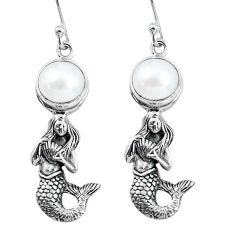 6.35cts natural white pearl 925 sterling silver fairy mermaid earrings p60766