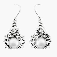 6.36cts natural white pearl 925 sterling silver flower earrings jewelry p50701