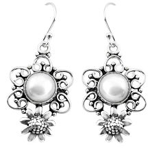6.10cts natural white pearl 925 sterling silver flower earrings jewelry p51980