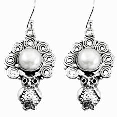 8.27cts natural white pearl 925 sterling silver owl earrings jewelry p58322