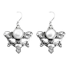 8.83cts natural white pearl 925 sterling silver owl earrings jewelry p58353