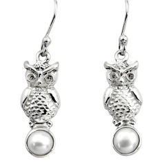 2.09cts natural white pearl 925 sterling silver owl earrings jewelry p84929