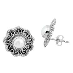 2.01cts natural white pearl 925 sterling silver stud earrings jewelry d31598