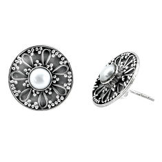 1.91cts natural white pearl 925 sterling silver stud earrings jewelry p34372