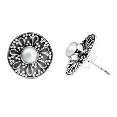 1.91cts natural white pearl 925 sterling silver stud earrings jewelry p34419