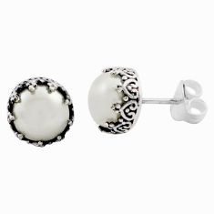 6.31cts natural white pearl 925 sterling silver stud earrings jewelry p88560