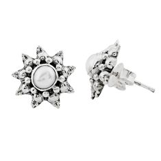 1.74cts natural white pearl 925 sterling silver stud earrings jewelry p88566