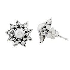 1.63cts natural white pearl 925 sterling silver stud earrings jewelry p88569