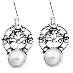 5.63cts natural white pearl 925 sterling silver tree of life earrings p41467