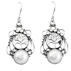 6.10cts natural white pearl 925 sterling silver tree of life earrings p51977