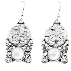 6.57cts natural white pearl 925 sterling silver tree of life earrings p51978