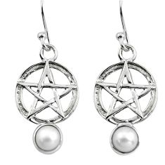 1.96cts natural white pearl 925 sterling silver wicca symbol earrings p84963