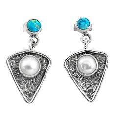 4.69cts natural white pearl turquoise 925 sterling silver dangle earrings p57588